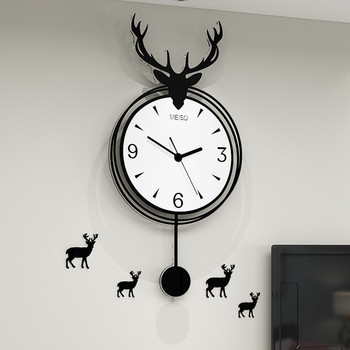 Nordic Deer Watch Wall Living Room Stylish Atmosphere Net Red Table Personality Creative Modern Minimalist Quartz Wall Clock