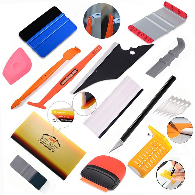 EHDIS Car Goods Tool Kit Carbon Fiber Vinyl Wrapping Tools Window Tint Magnet Squeegee Soft Wrap Scraper Cutter Auto Accessories