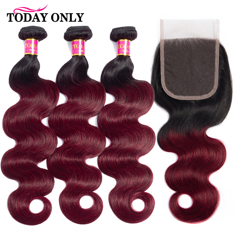 TODAY ONLY Brazilian Hair Weave Bundles With Closure Body Wave With Closure Ombre Burgundy Human Hair Bundles With Closure Remy