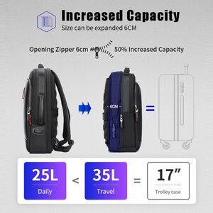 Image 4 - BOPAI Men Black Leather Backpack USB Charge Bagpack School Bags Hidden Pocket Anti Theft Backpack Men Laptop Backpack sac a dos
