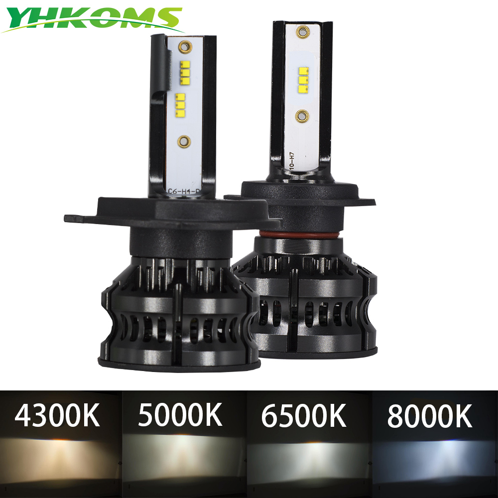 YHKOMS New Design 80W 16000LM H4 LED H7 LED Car LED Headlight 4300K 5000K 8000K ZES CSP H8 H11 H1 9005 9006 Auto Fog Light 12V