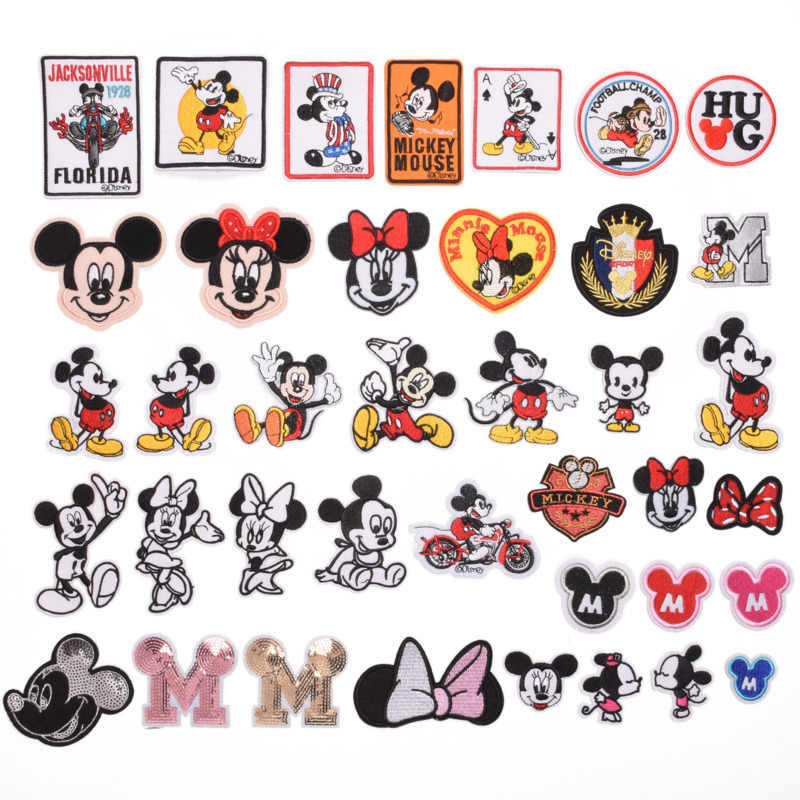 1 Pc Geborduurde Patch Micky Bownot Patroon Badge Stickers Cartoon Patches Voor Kinderkleding Rugzak Applique Multicolor Optionele