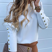 Metal Buttoned Shirts For Women Detail Casual Blouse Solid 2019 Autumn Individua