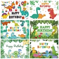 Laeacco динозавр вечерние фотографии фонов тропические пальмы деревья листья воздушные шары джунгли фотосессии ко дню рождения и Фоны аксессу...