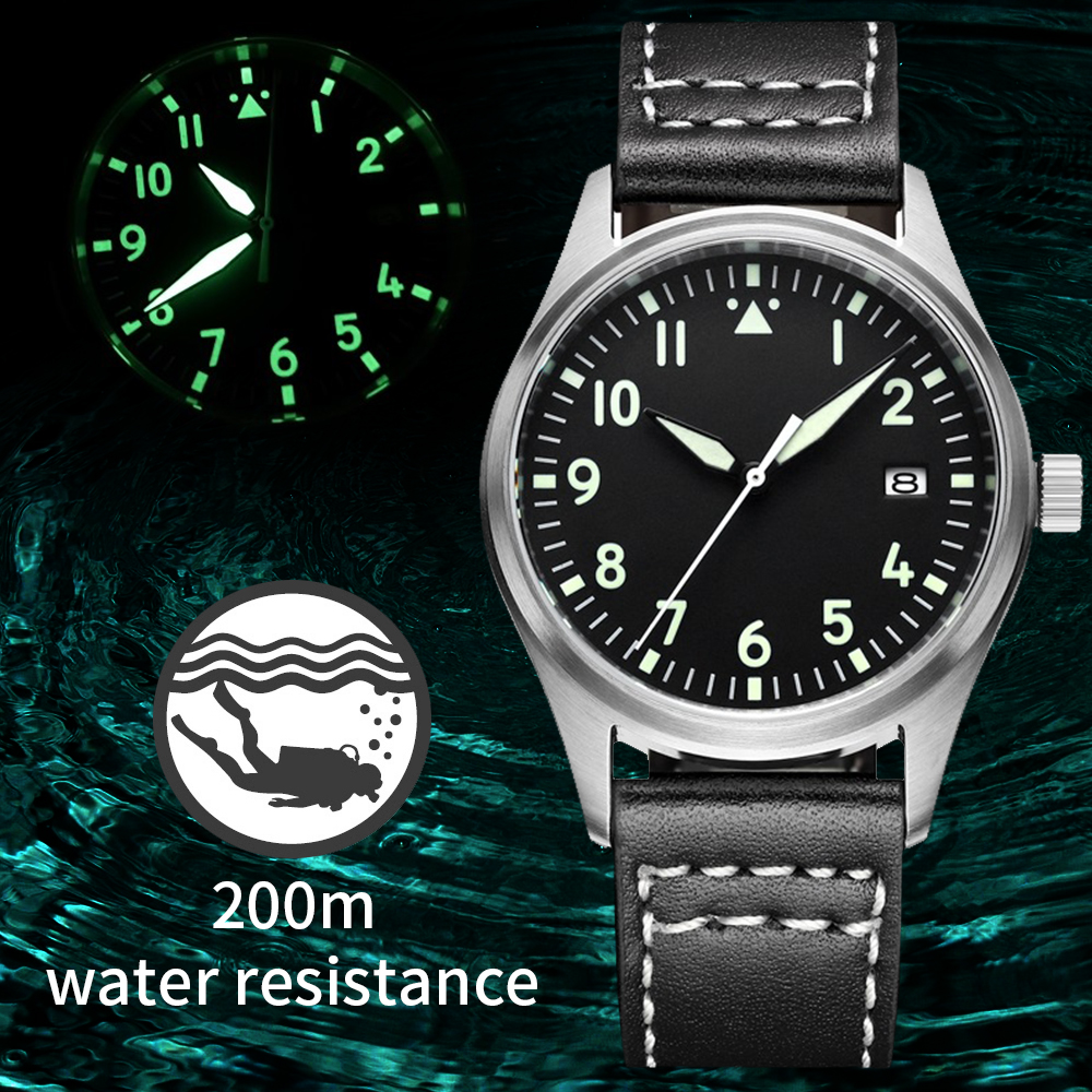Automatic Mechanical Men's Watch Sapphire Crystal Stainless Steel NH35 Pilot Watch1940  Leather Waterproof Automatic Watch Men