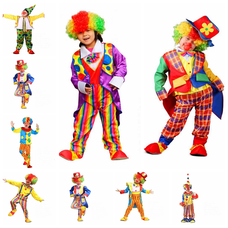 New Arrival Halloween Funny Naughty Harlequin Clown Cosplay Costumes Circus Joker Role Play Funny Dress for Kids Boys Girls