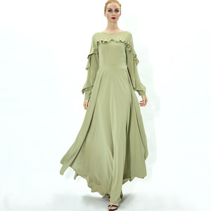 Long Abaya Muslim Dress Pure Color Women Ethnic Long Sleeve Islamic Maxi Dress Tranditional Arabic Kaftan Robe Jilbab Dress