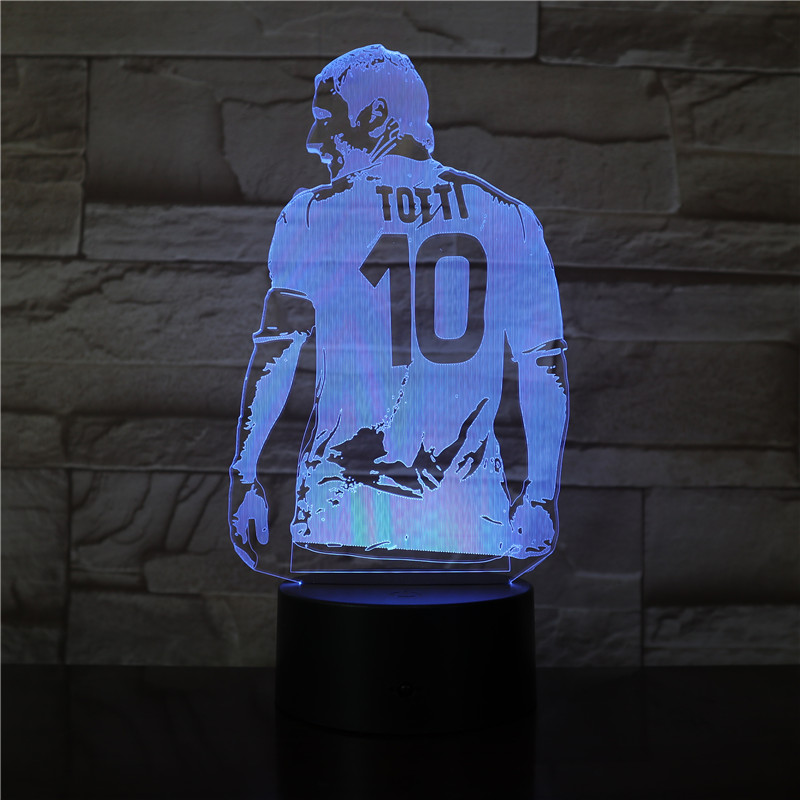 3D LED Football Player Francesco Totti Back View Figure Led Night Light for Bedroom Decor Gift for Boyfriend Soccer Fan 3270 image