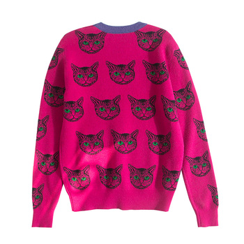 2020 autumn and winter new cat pattern knitted sweater pullover ladies round neck cartoon long-sleeved Harajuku sweet