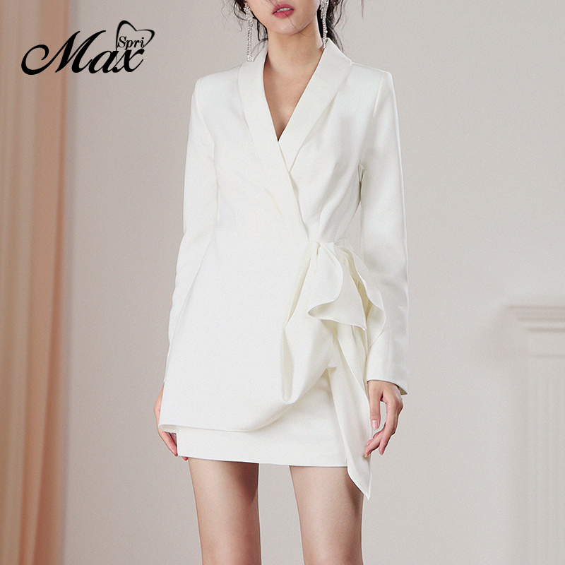 Max Spri mode Sexy col en V longue maille manches bouffantes robe blanche 2019 nouvelle Collection femmes fête bureau dame Vestidos