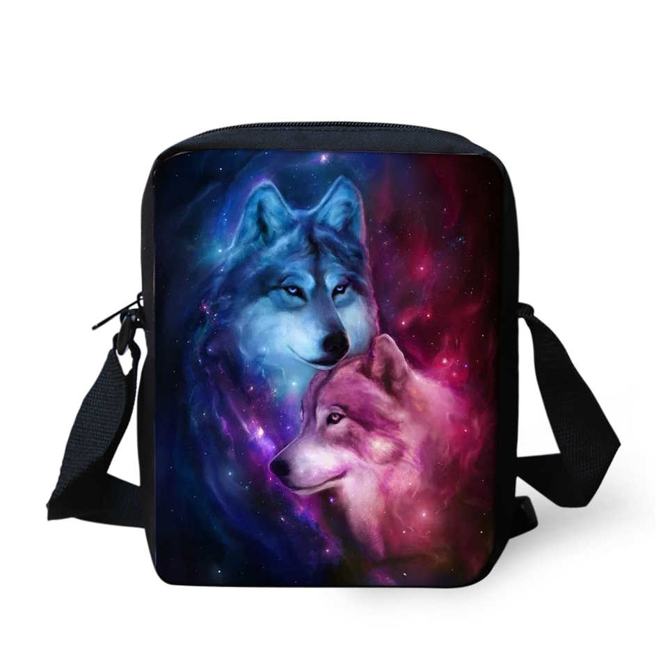 Haoyun Vrouwen Messenger Bags Fantasy Wolf Prints Patroon Meisjes Cross Body Bag Cartoon Dier Mode Meisjes Mini Flappen Portemonnee