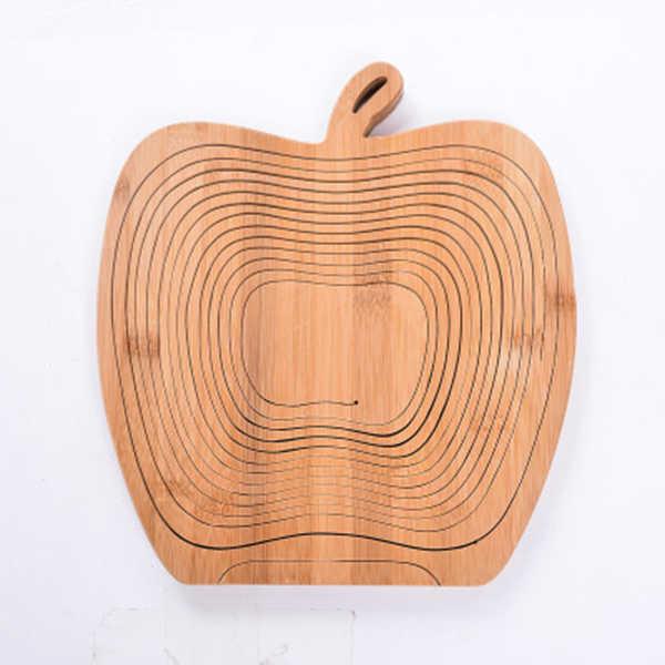 Nieuwigheid Opvouwbare Apple Vormige Bamboe Mand Opvouwbare Fruitmand