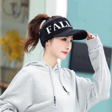 Hat Women Empty-Visors Acrylic-Caps Girl New Warm Autumn Winter Letter for H3 Thicken