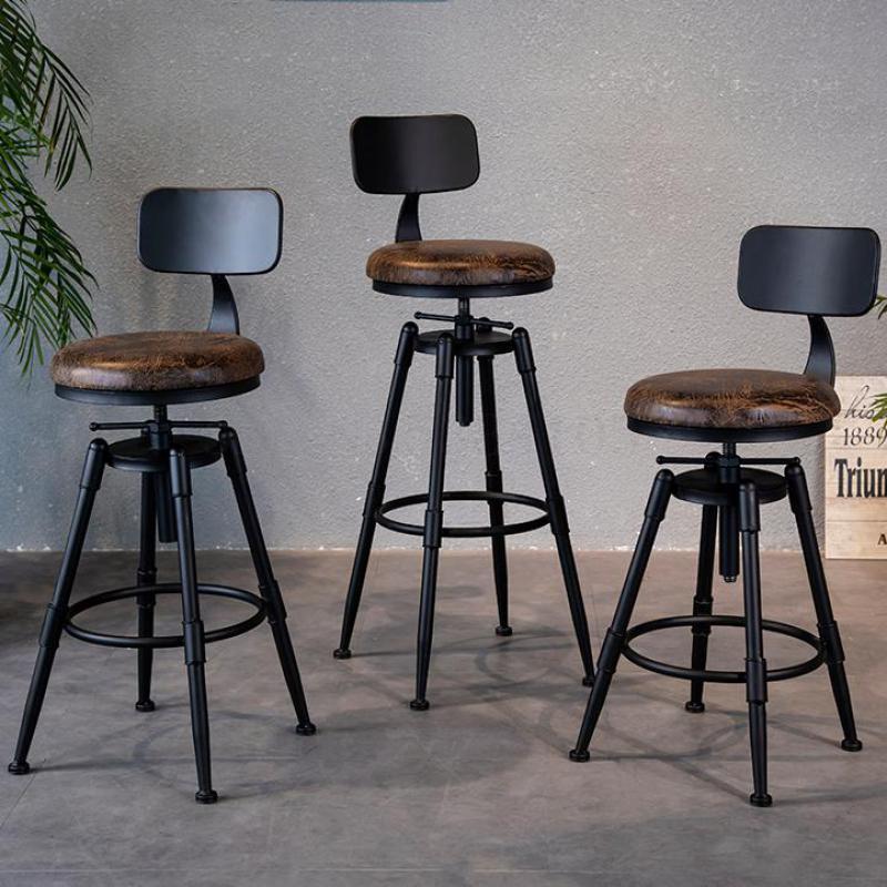 chaise de bar moderne simple avec dossier en fer rotatif tabouret haut pour la maison art