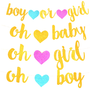 1Set Glitter Gold Boy or Gilr /Oh baby /Oh Boy /Oh Girl Banner Flag Heart Paper Banners Baby shower Gender Reveal Party Supplies