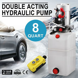 12 Volt Hydraulic Pump for Dump Trailer - 8 Quart Poly - Double Acting