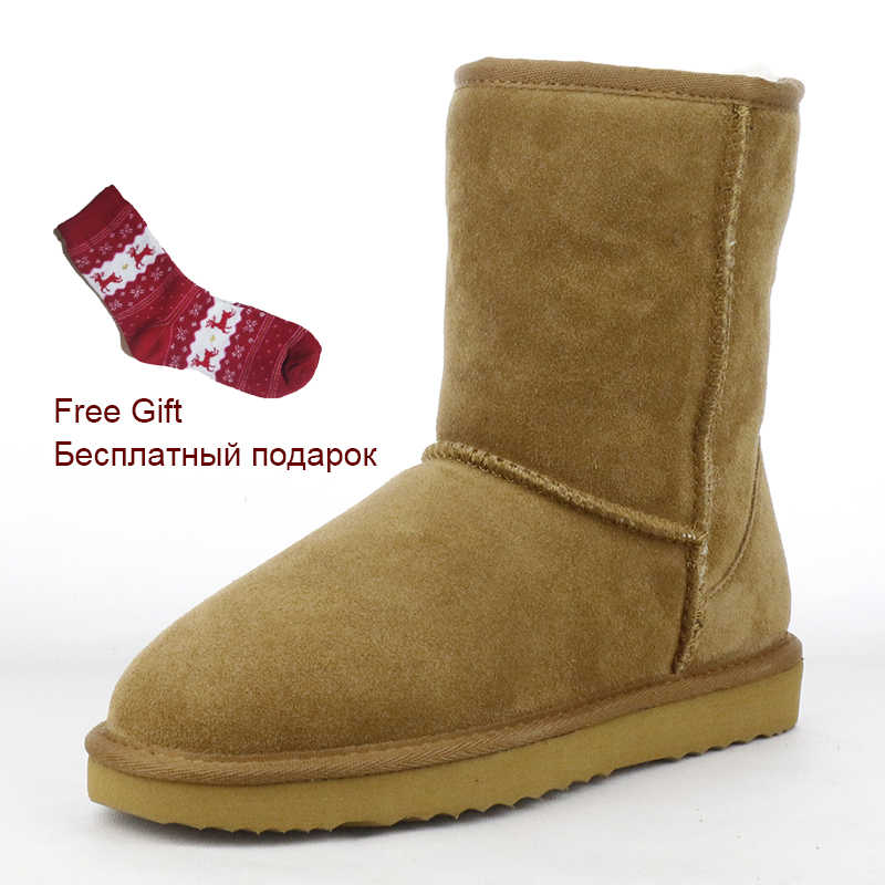 Australia Classic Waterproof Genuine Cowhide Leather Snow Boots Women Boots Warm Winter Boots for Women Shoes Large Size 35-44