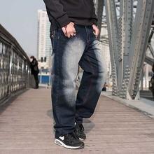 Мода размера плюс джинсы в стиле хип хоп для мужчин повседневные