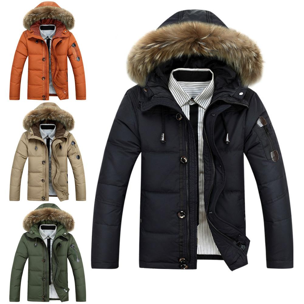 Winter Men Down Jacket Collar Hooded Thick Parka Down Coat Men Winter Jacket Plus Size Snow Warm Parka Coat Christmas Gift Male