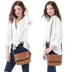 Image 2 - Bolso de hombro suave para mujer, bandolera con solapa, bolso de mano de PU marrón, tipo sobre, bandolera sencilla para uso diario, CT30080