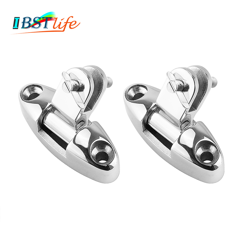 2PCS Stainless Steel 316 <font><b>Boat</b></font> <font><b>Bimini</b></font> <font><b>Top</b></font> Mount Swivel Deck Hinge With Rubber Pad Quick Release Pin Marine Accessories image