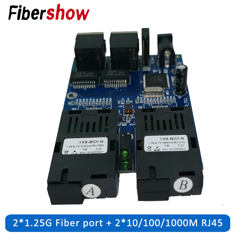 Gigabit Ethernet Fiber Switch 2 RJ45 UTP 2 SC Fiber Gigabit Fiber Optical Media Converter 2SC 2RJ45 Ethernet 10/100/1000M PCB