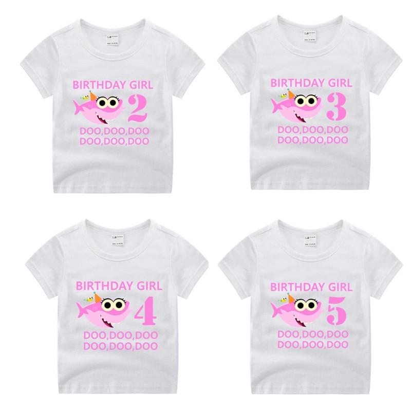 Веселая Футболка день рождения для мальчиков и девочек Shark Doo, детский подарок на день рождения, футболка, детский подарок