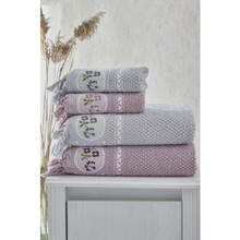Şengil Home Textile Şengilevtekstil 4'lü Bath Towel Set/Gray-Dirty Pink