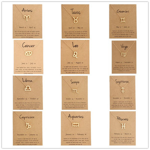 12pcs Gold Card Fashion Jewelry 12 Constellation Zodiac Pendant Necklace For Women