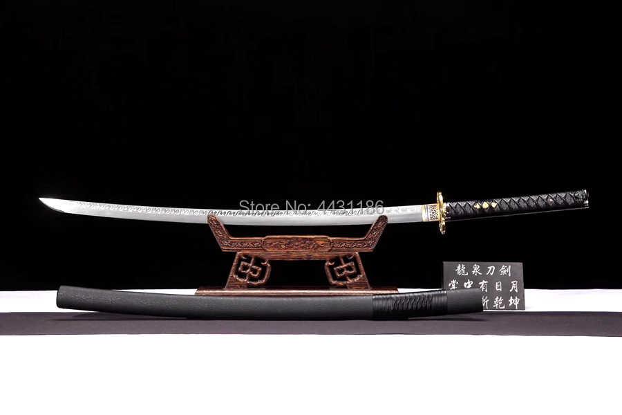 Handgemaakte Zwarte Samurai Battle Mes Sabel Volledige Tang Lente Steel Blade Sharp Japanse Dao Zwaard Katana