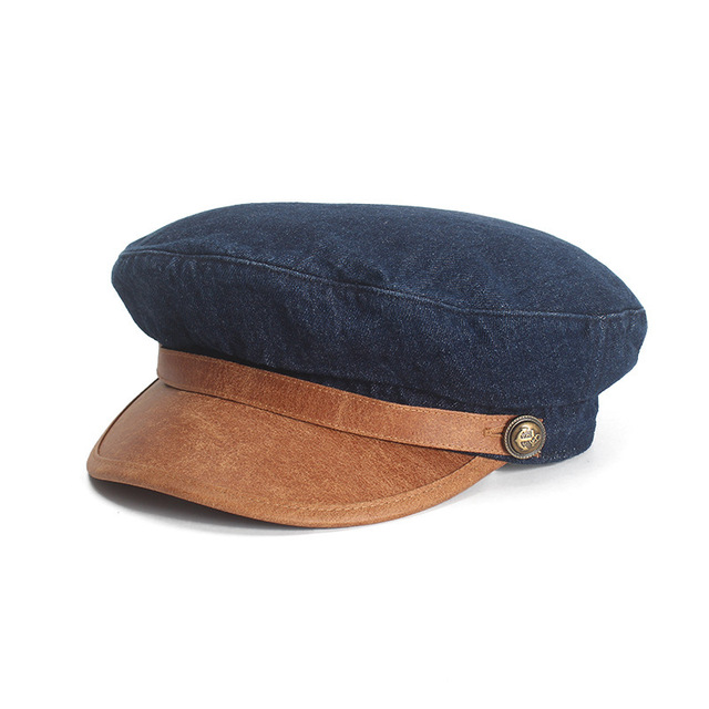 Cowboy Patchwork Peaked Cap Beret Woman Winter Restore Ancient Ways Flat Roof Navy Hat Street Octagonal Hat