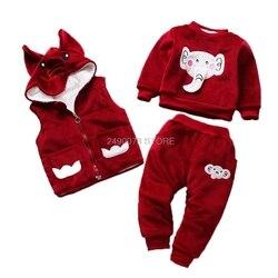 Bebê recém-nascido meninos meninas inverno quente elefante casaco com capuz calças moletom 3 pçs conjunto de roupas crianças esportes agasalho clothe
