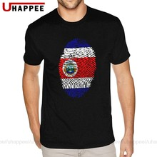 Vintage Graphic Costa Rica Flag Fingerprint Tee Shirts Men's Make Your Own Short Sleeved 100 Cotton Round Neck T-Shirts