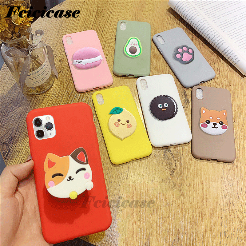 3D Silicone Cartoon Phone Holder Case For Iphone 11 12 Mini Pro Max SE 2020 Cute Stand Soft Back Cover Coque