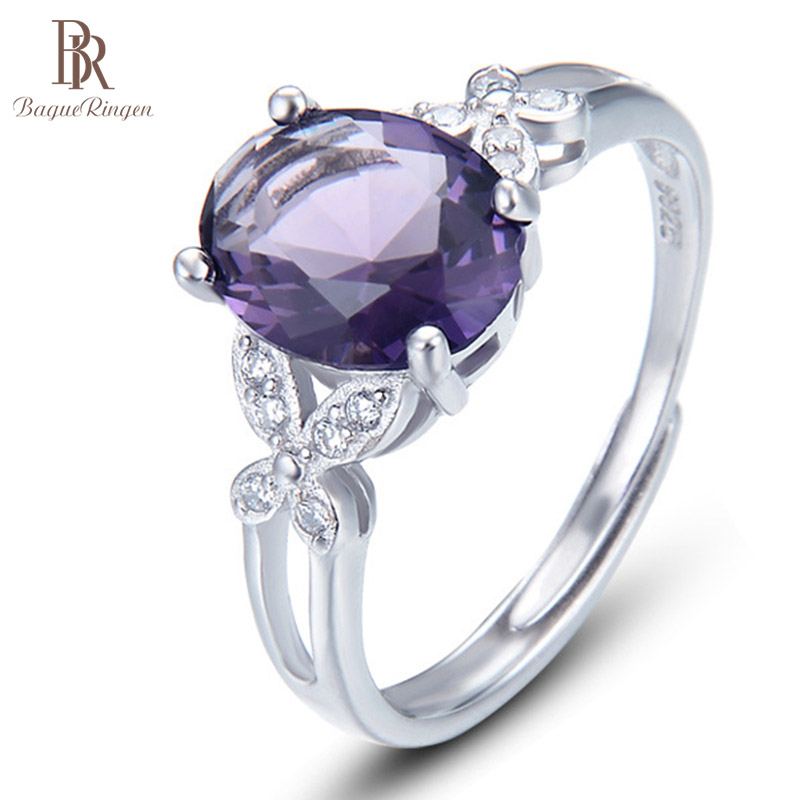 Bague Ringen Explosive S925 Sterling Silver Zircon Ring With 8*10mm Amethyst Rose Gold Color Butterfly Fresh Elegant Temperament