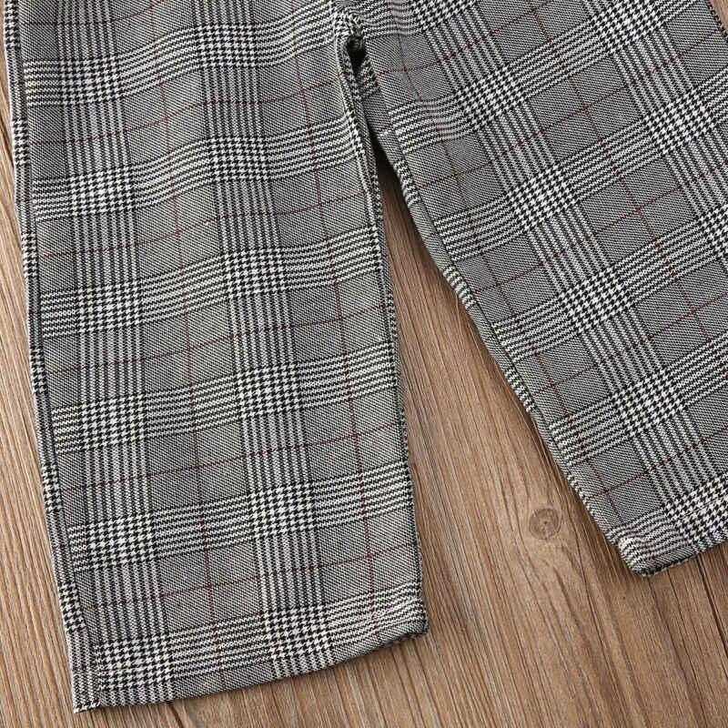 Pudcoco Romper yaz yürüyor çocuk bebek kız ekose askı tulum resmi Partty pantolon çocuklar kolsuz moda Romper 1-6Y