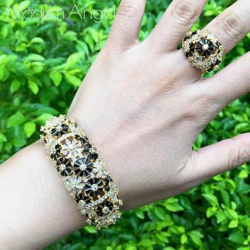 ModemAngel Fashion Black Cubic Zirconia Bracelet Bangle Ring Set Trendy Baguette Cuff For Women Girl Party Wedding Jewelry
