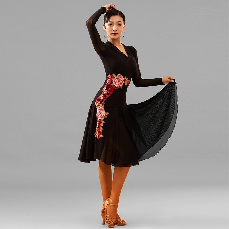 New Latin Dance Dress Sexy Black Dress Women Tango Rumba Ballroom Modern Dance Dress Salsa Latin Dance Competition Dress DQS3709