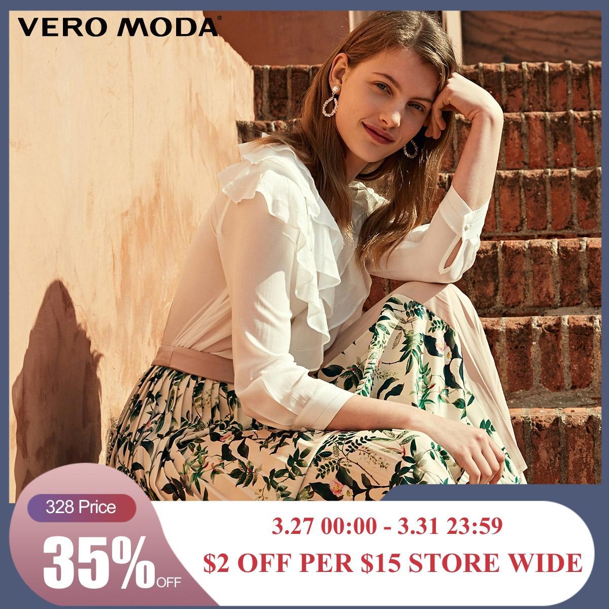 Vero Moda Women's V-neckline Multi-tiered Ruffled Buckle-through Shirt | 319231561