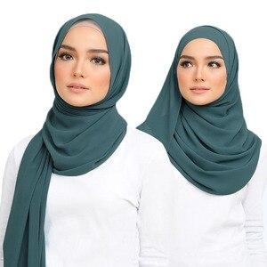Image 2 - Écharpe en mousseline de soie, hijab, style bulle, pour femmes, M2, écharpe offre spéciale x 75cm, 10 pièces