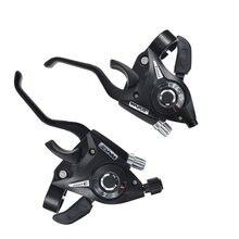 Mountain bike alavanca do freio de deslocamento combinação conjunto 3x7 3x8 21 24 velocidade mtb thumb engrenagem shifters