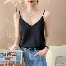 The new sling vest lady summer, V-neck suit chiffon inside the female feeling loose-fitting slim outer wear bottoms