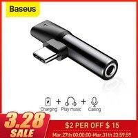 Baseus 2 ב 1 USB סוג C ממיר כדי 3.5mm Aux שקע מתאם USB C טעינה הארכת אוזניות מתאם לxiaomi 8 forhuawei-במתאמים לטלפון נייד מתוך טלפונים סלולריים ותקשורת באתר