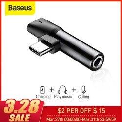 Convertidor Baseus 2 en 1 USB tipo C a 3,5mm Aux Jack Adapter USB C cargador extensión de auriculares adaptador para Xiaomi 8 forhuawei