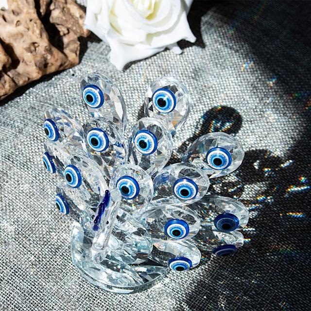 H & DคริสตัลBlue Evil Eye Glass Art CRAFTคริสตัลMiniature Figurineตกแต่งบ้านเครื่องประดับXmasของขวัญสำหรับสุภาพสตรี