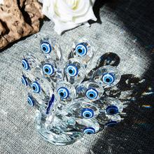 H&D Crystal with Blue Evil Eye Glass Art Craft Crystal Miniature Figurine Home Wedding Decor Ornament Xmas Gift for Lady
