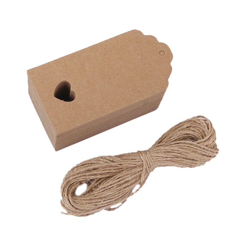 100 Pcs Kraft Paper Empty Card Hand Drawing Gift Label Tags Hearts Hollow Brown