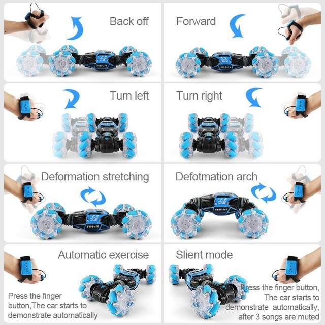 4WD RC Stunt Car Watch Control Gesture Induction Deformable Electric RC Drift Car Transformer Car Toys for Kids with LED Light 6