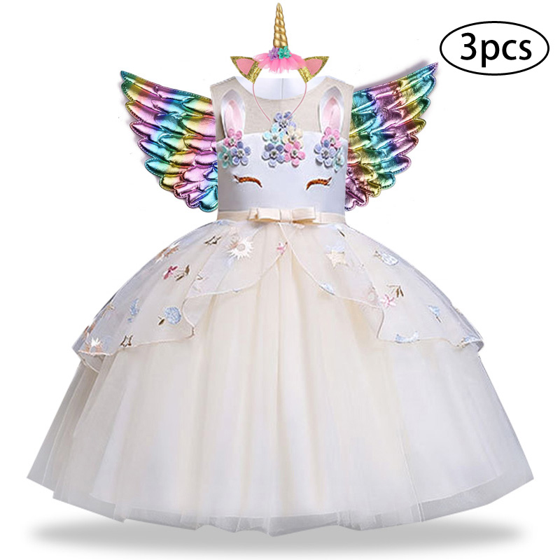 H0fae658642224b539e1a87a91ebe8410q New Girls Dress 3Pcs Kids Dresses For Girl Unicorn Party Dress Christmas Carnival Costume Child Princess Dress 3 5 6 8 9 10 Year