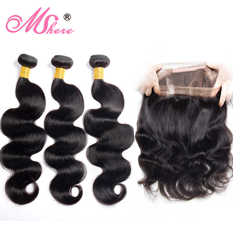 360 Lace Frontal Closure With Human Hair Bundles Brazilian Body Wave Hair With Lace Frontal with Baby Hair Mshere Non Remy Hair
